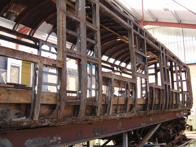 17th August: On arrival at Shildon the steel sides and roof patches were removed and the wooden framwework allowed to 'settle' for about 2 weeks before repair work commenced
